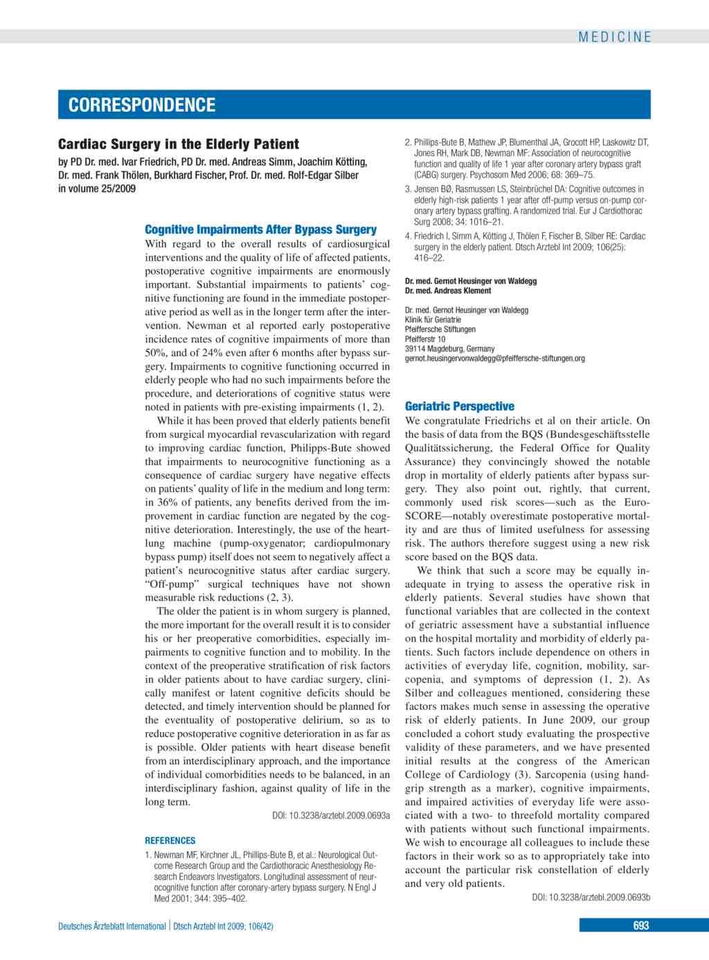 Cognitive Impairment After Bypass Surgery