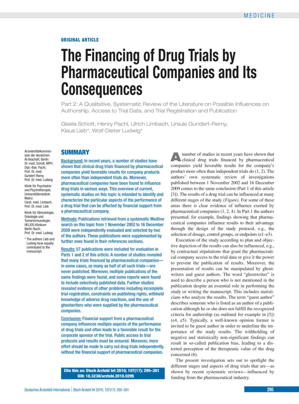 The Financing of Drug Trials by Pharmaceutical Companies and Its ...