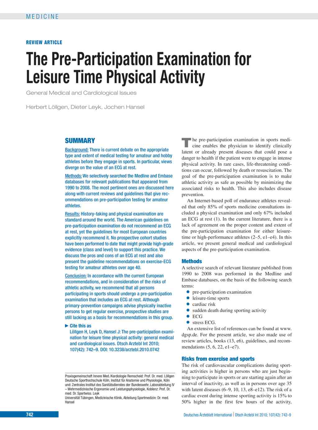 The Pre-Participation Examination for Leisure Time Physical Activity ...