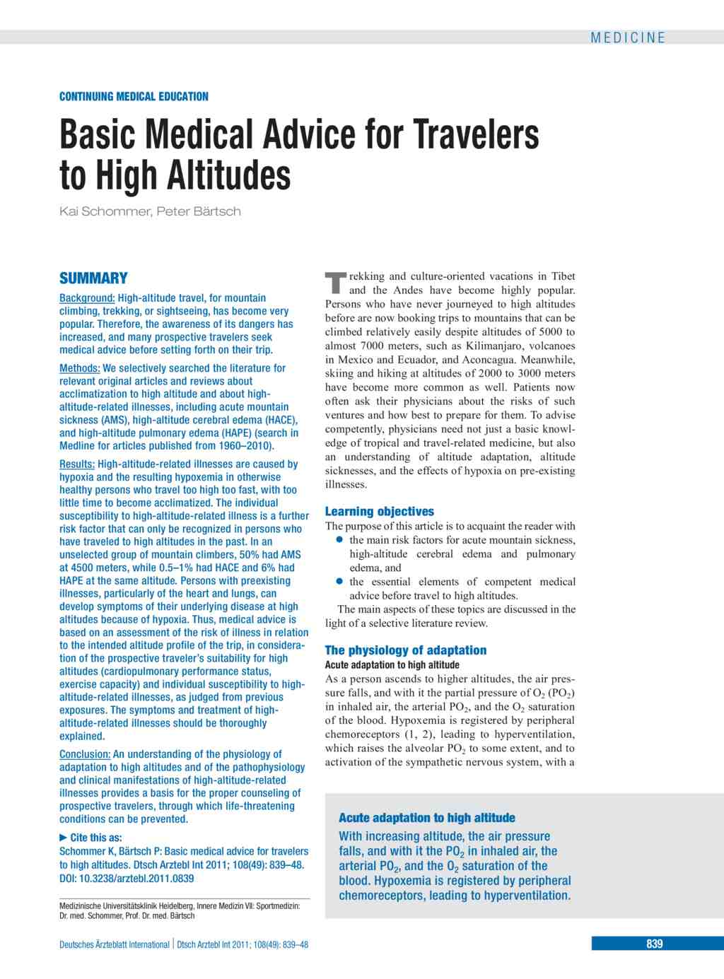 Basic Medical Advice for Travelers to High Altitudes (09.12.2011)