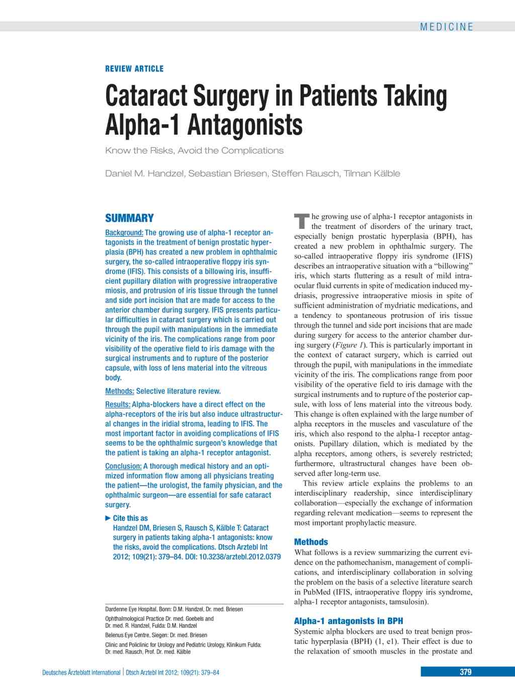 Cataract Surgery In Patients Taking Alpha 1 Antagonists 25052012
