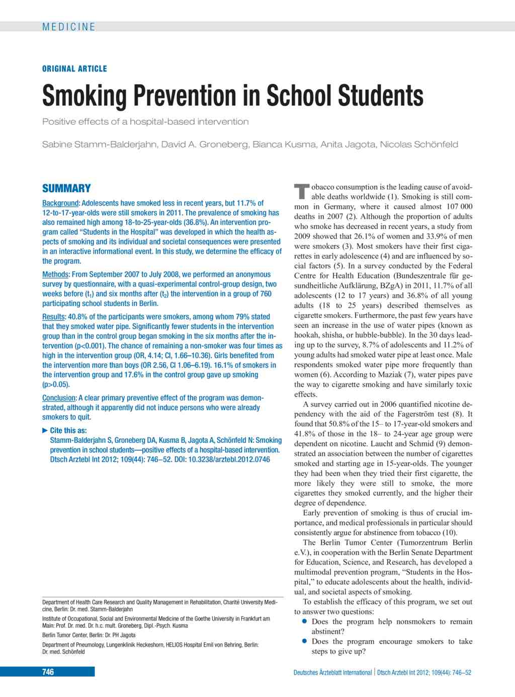 Smoking Prevention in School Students (02.11.2012)