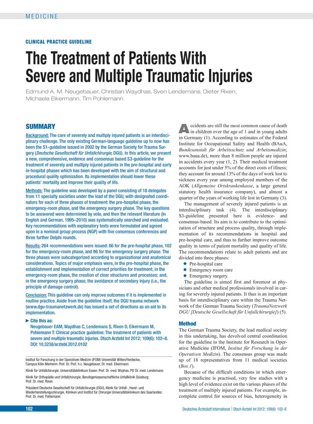 The Treatment of Patients With Severe and Multiple Traumatic ...