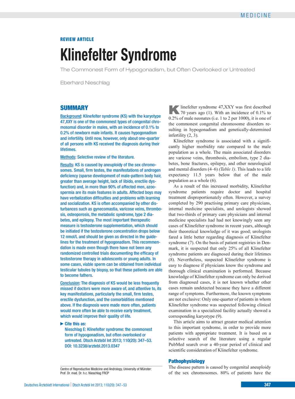 the symptoms and effects of klinefelter syndrome a genetic disorder affecting males