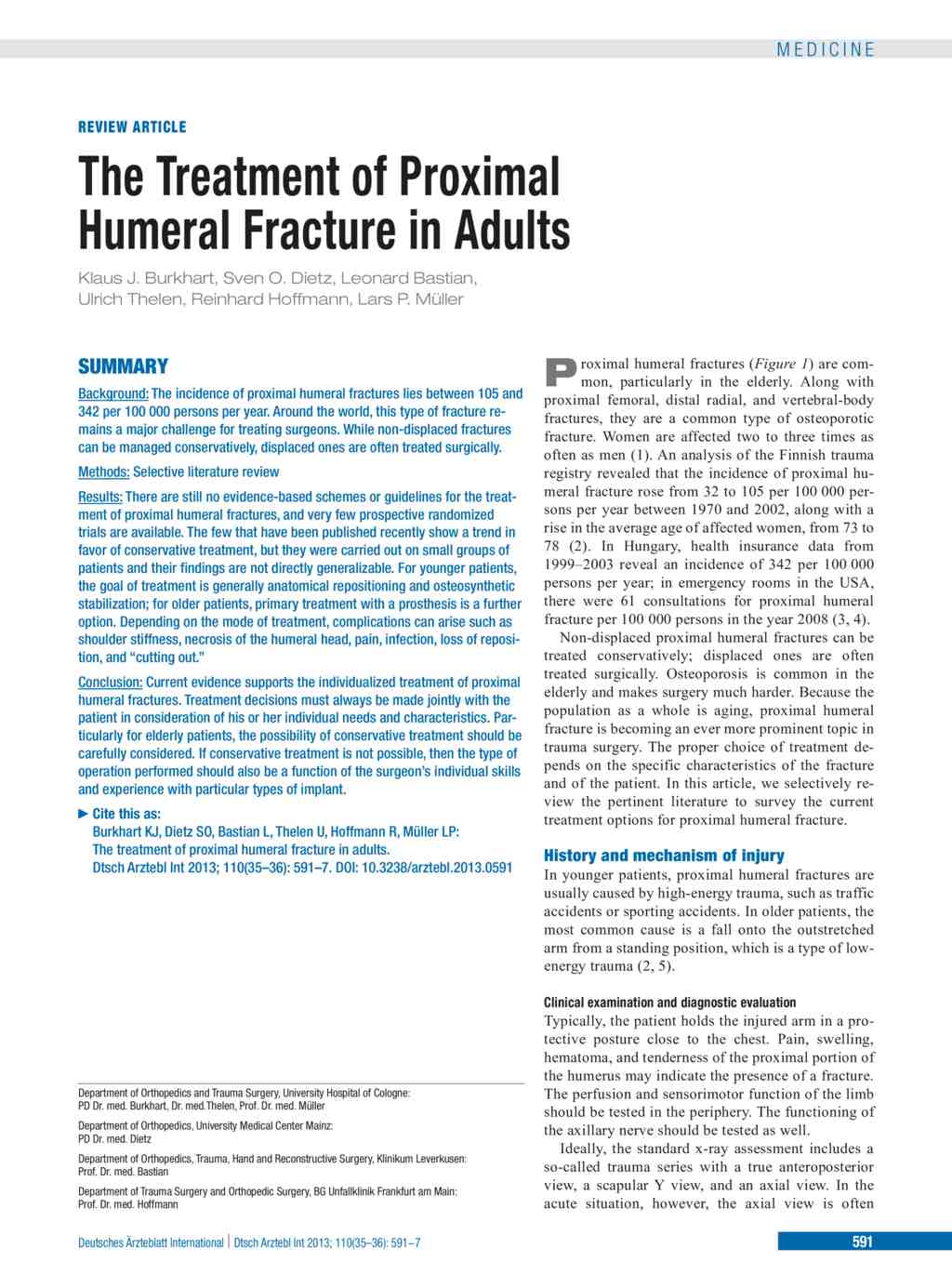 The Treatment of Proximal Humeral Fracture in Adults (02.09.2013)