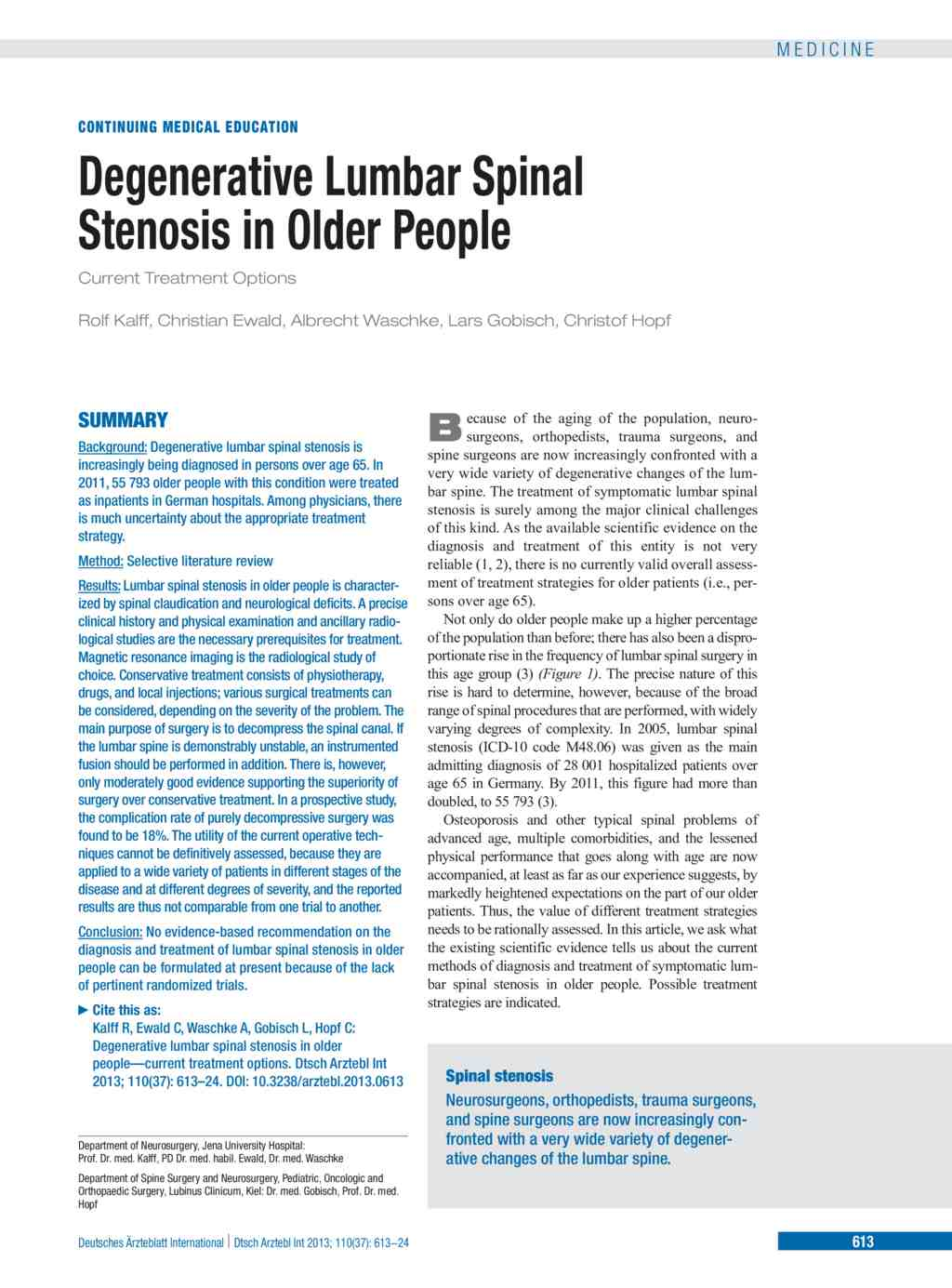 degenerative lumbar spinal stenosis in older people (13.09.2013)
