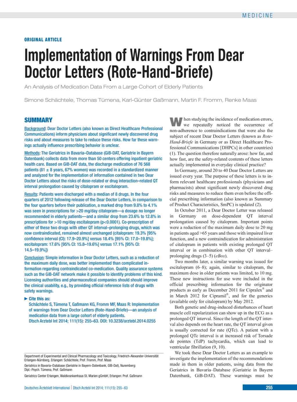 Implementation Of Warnings From Dear Doctor Letters Rote Hand