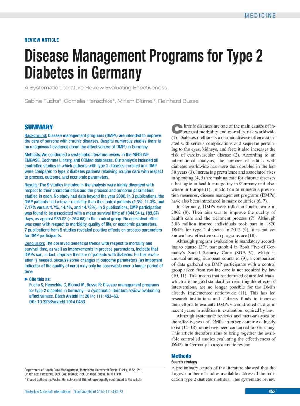 literature review diabetes