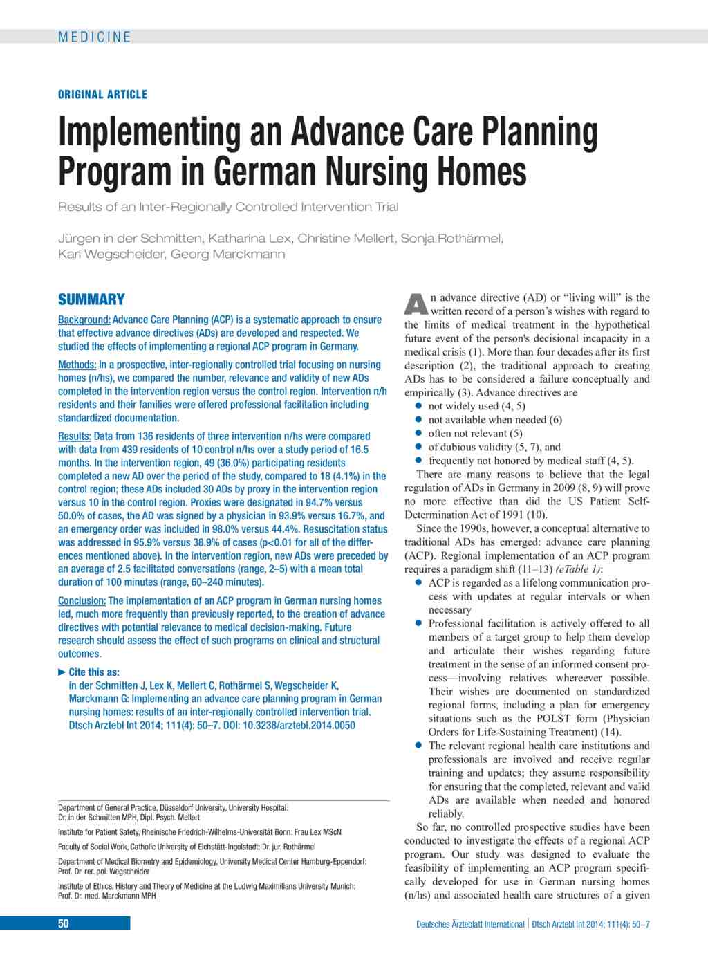 Implementing an Advance Care Planning Program in German Nursing ...
