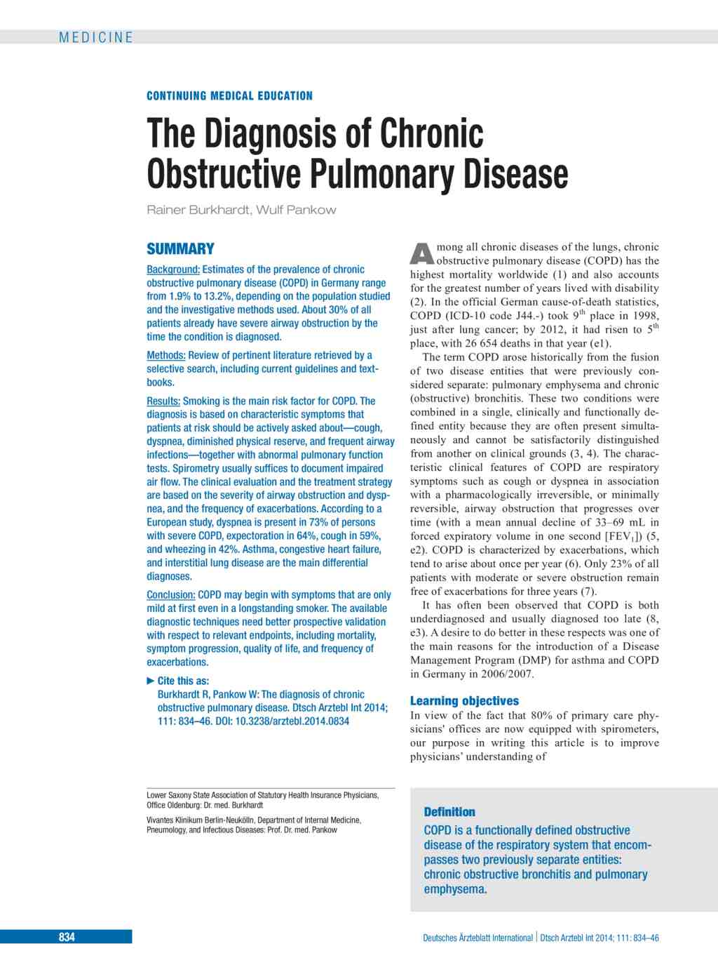 the diagnosis of chronic obstructive pulmonary disease (05.12.2014)
