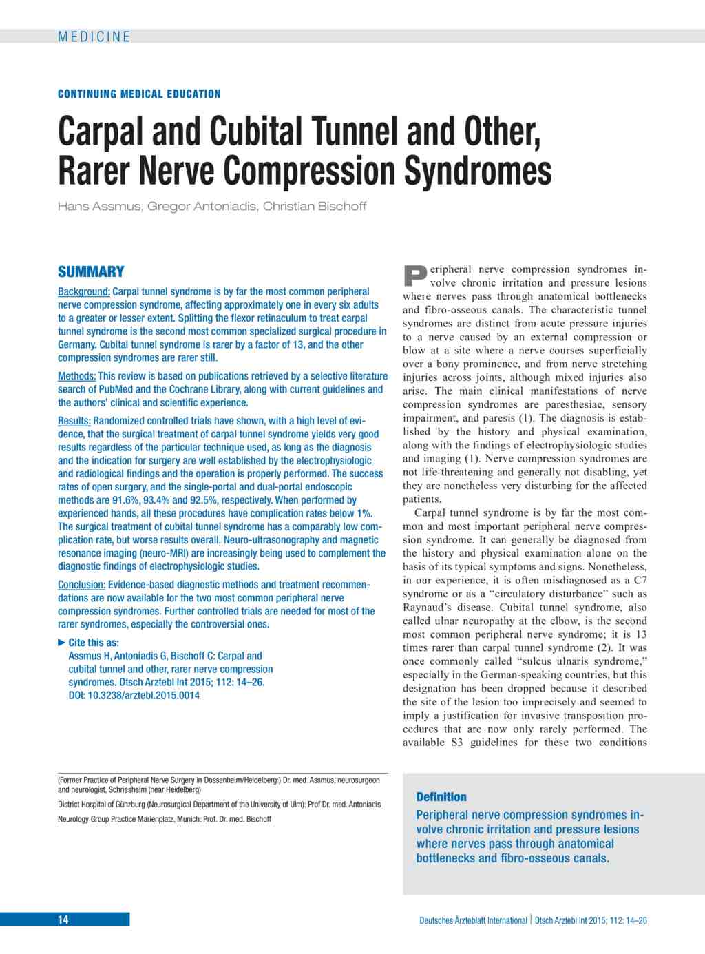Carpal and Cubital Tunnel and Other, Rarer Nerve Compression ...