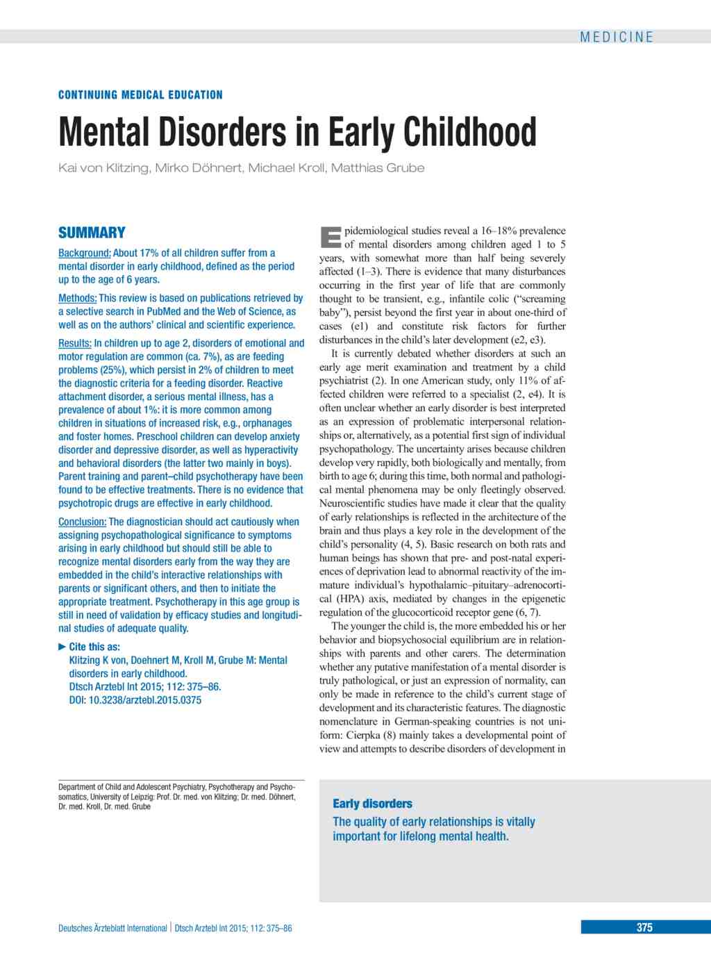 Mental Disorders In Early Childhood References