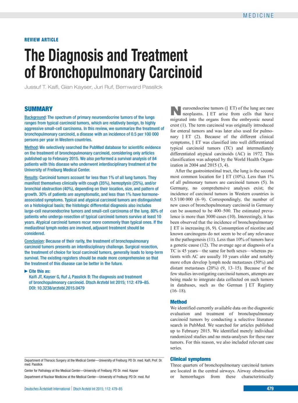 Diagnosis of Carcinoid Tumours of the Lung recommendations