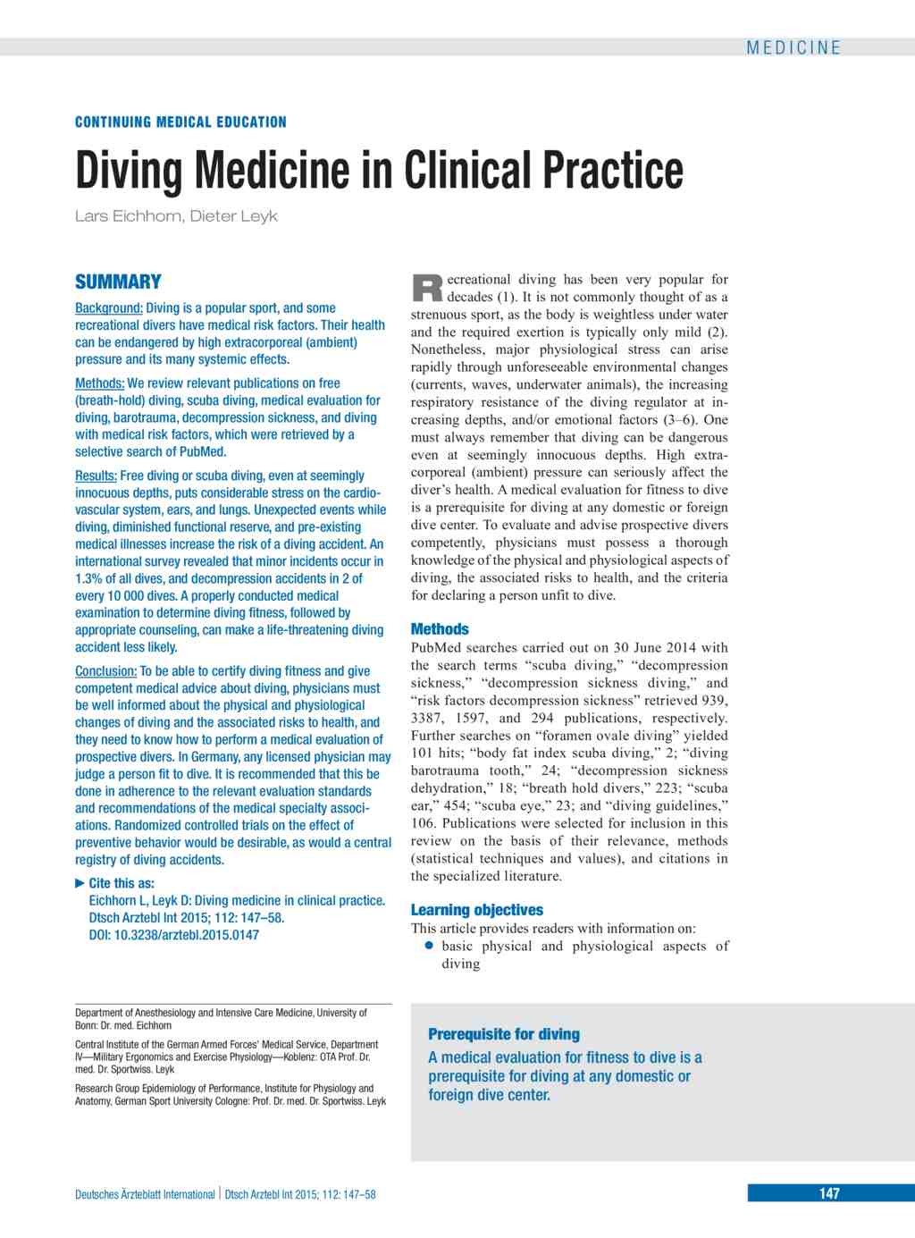 Diving Medicine In Clinical Practice References