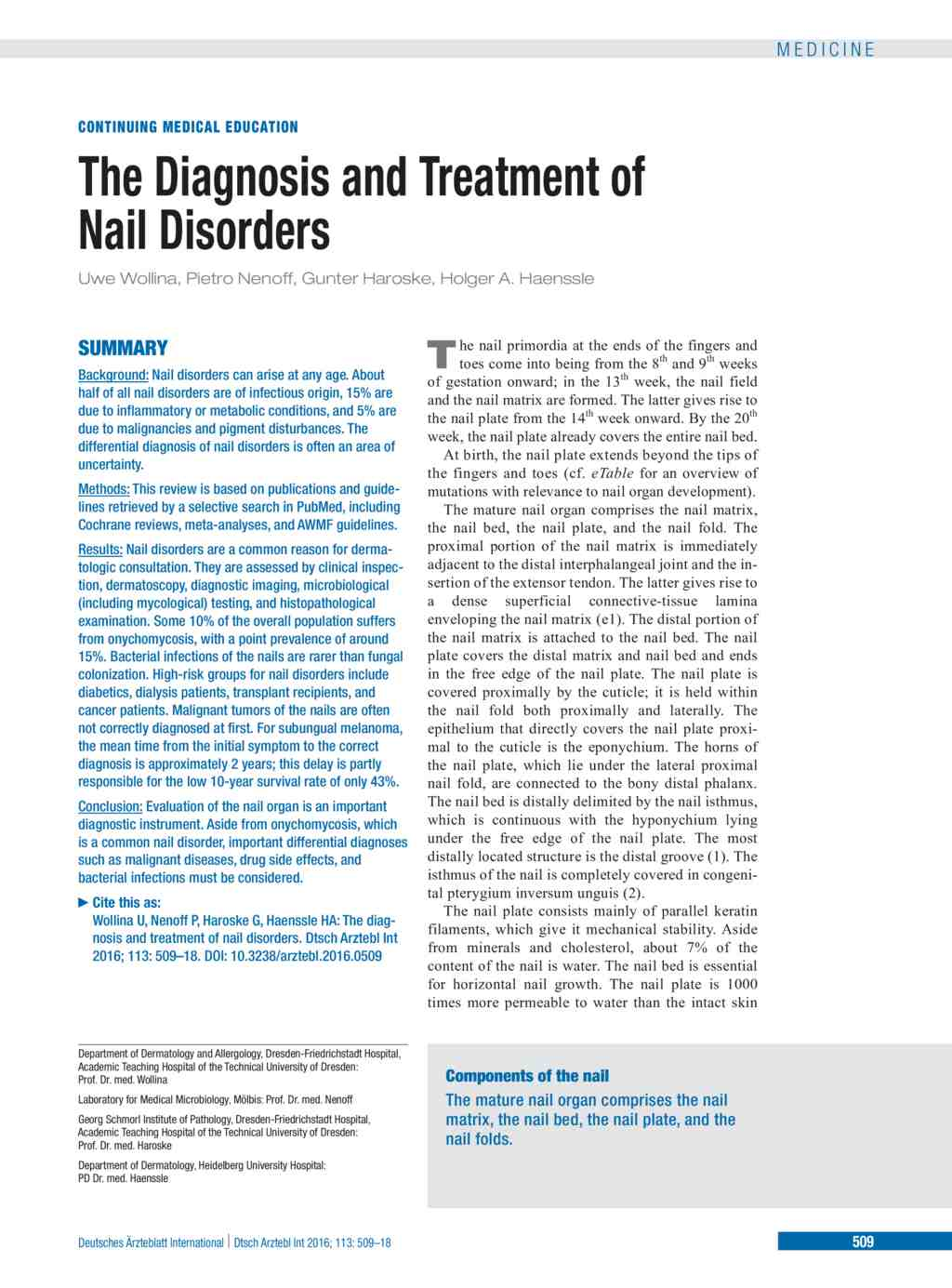 The Diagnosis and Treatment of Nail Disorders (25.07.2016)