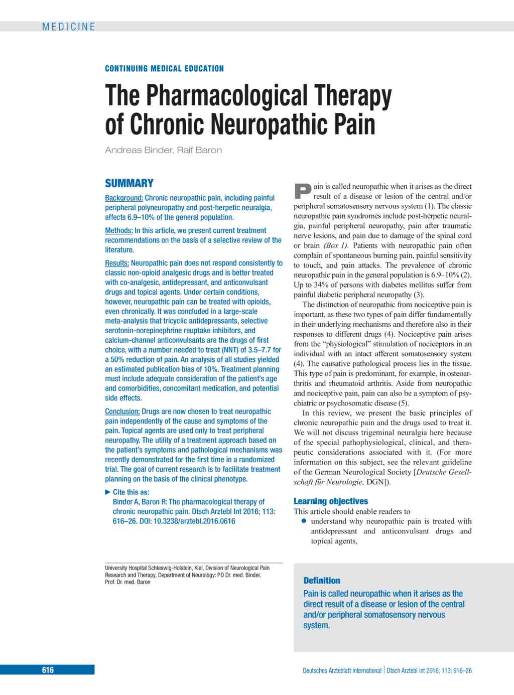 the pharmacological therapy of chronic neuropathic pain (16.09.2016)