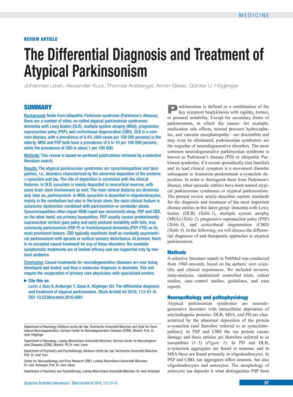 The Differential Diagnosis and Treatment of Atypical Parkinsonism ...