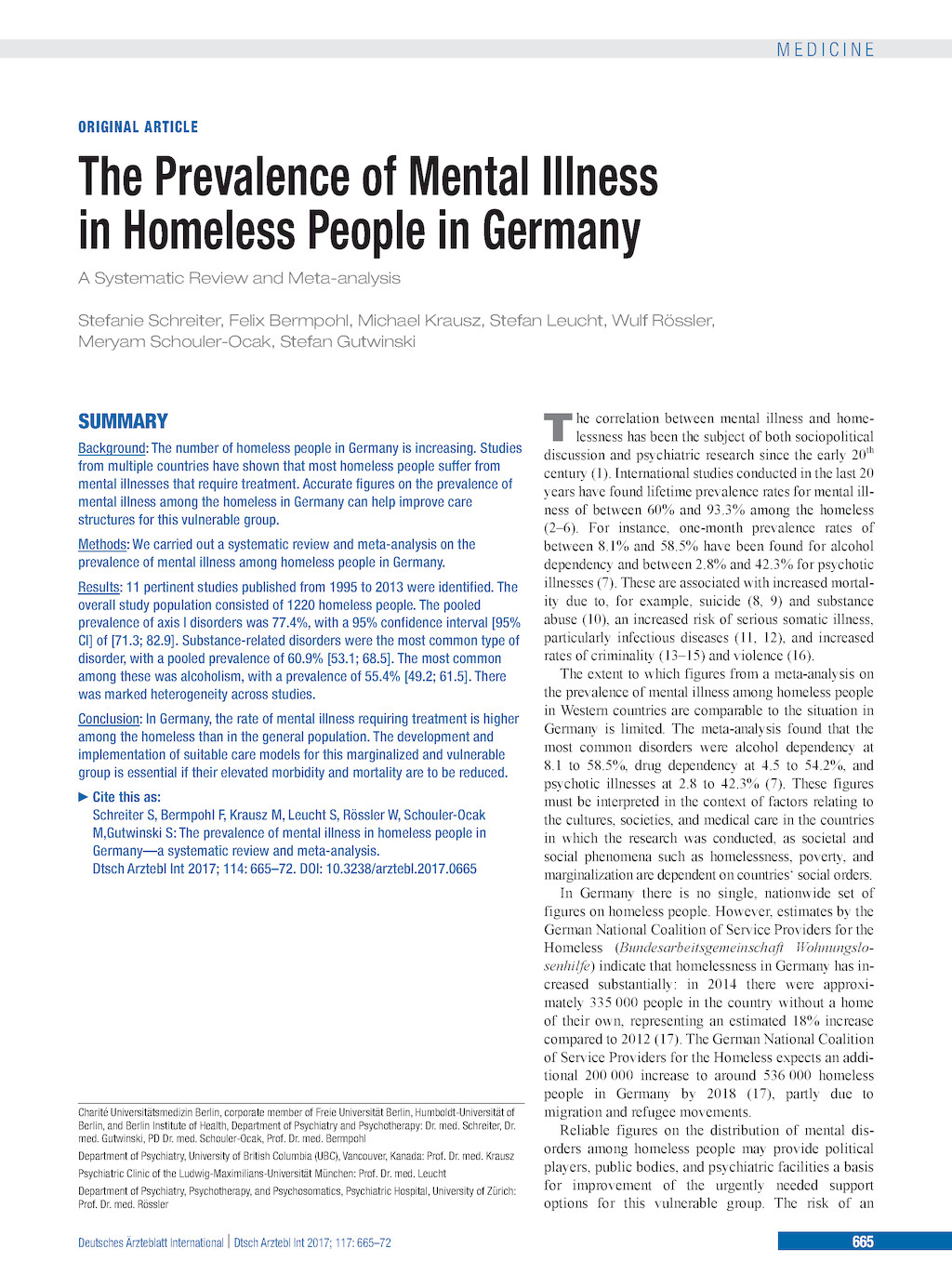 The Prevalence Of Mental Illness In Homeless People In Germany