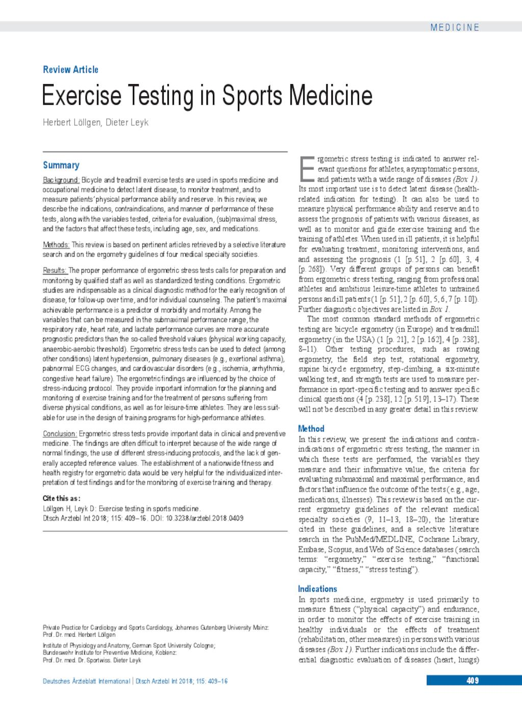 Exercise Testing in Sports Medicine (15.06.2018)