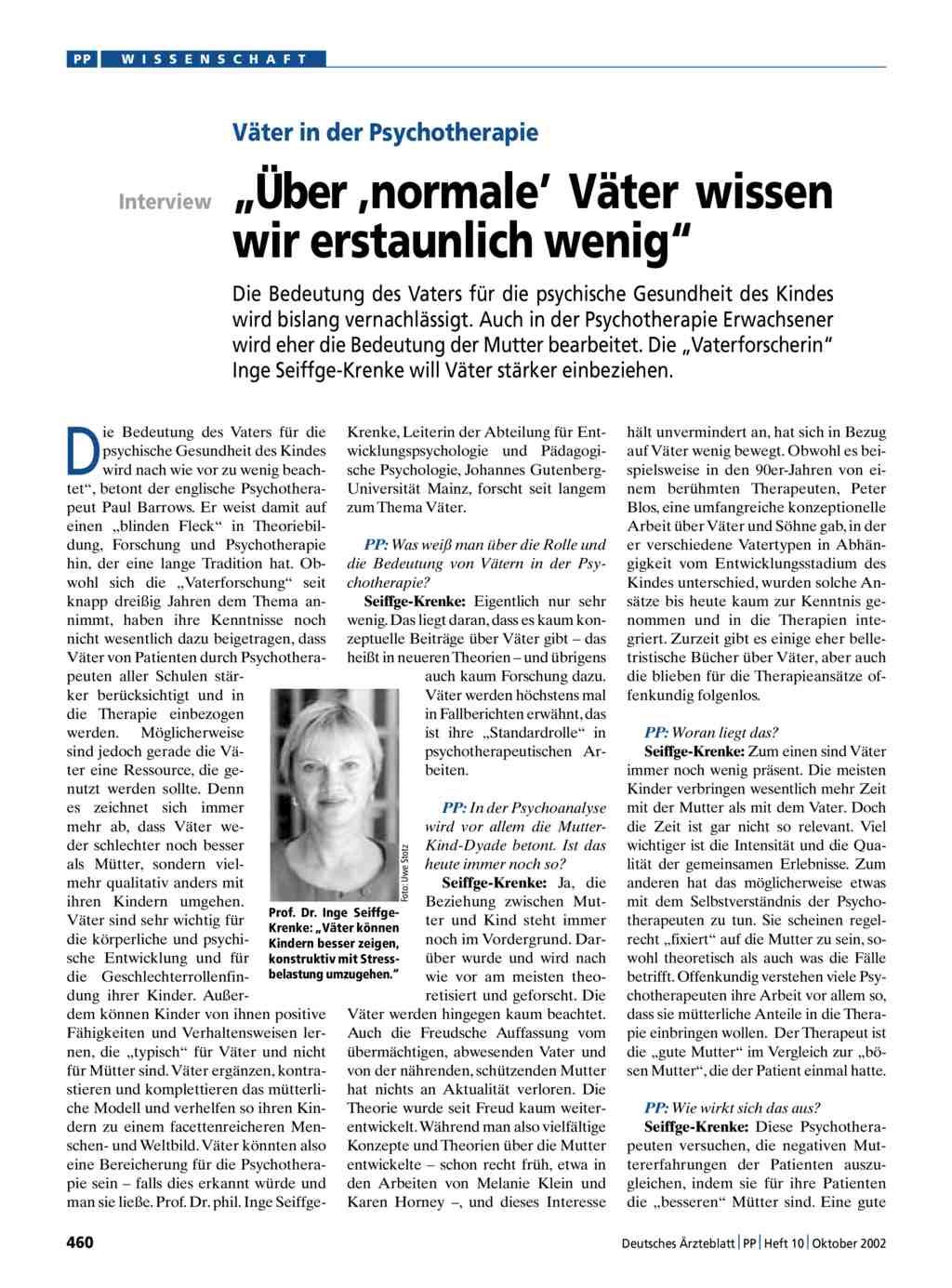 """Väter in der Psychotherapie: """"Über ,normale\' Väter wissen wir ..."""