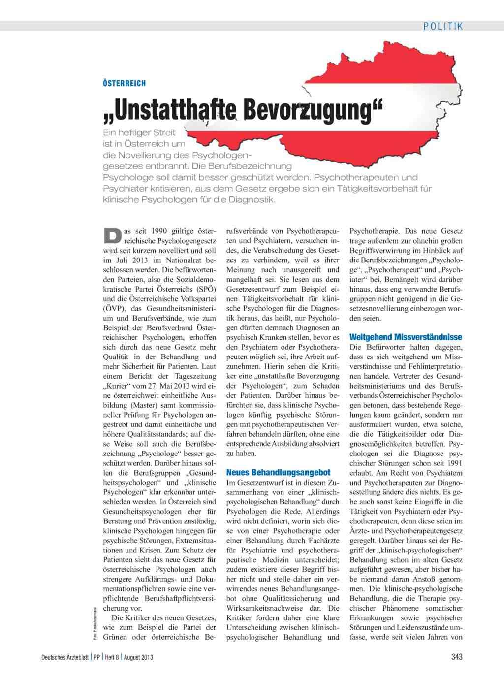 österreich Unstatthafte Bevorzugung