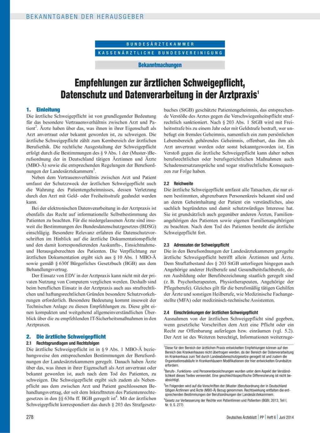 empfehlungen zur rztlichen schweigepflicht datenschutz und datenverarbeitung in der arztpraxis - Behandlungsvertrag Muster