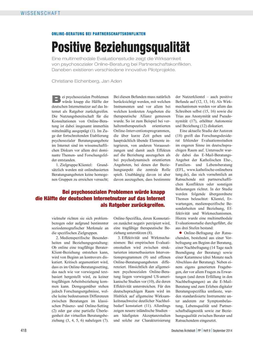 Online-Beratung bei Partnerschaftskonflikten: Positive ...