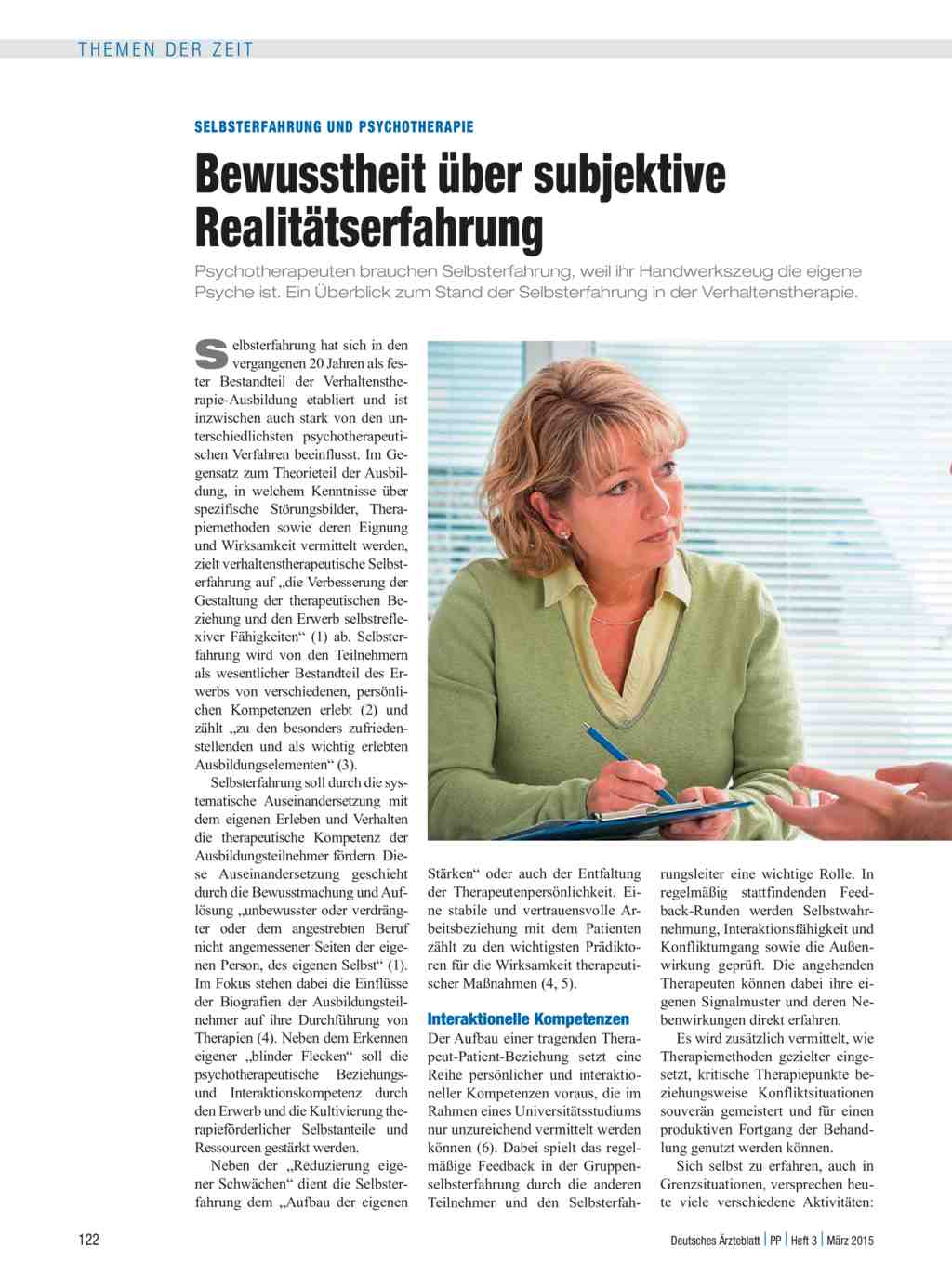 Selbsterfahrung und Psychotherapie: Bewusstheit über subjektive ...
