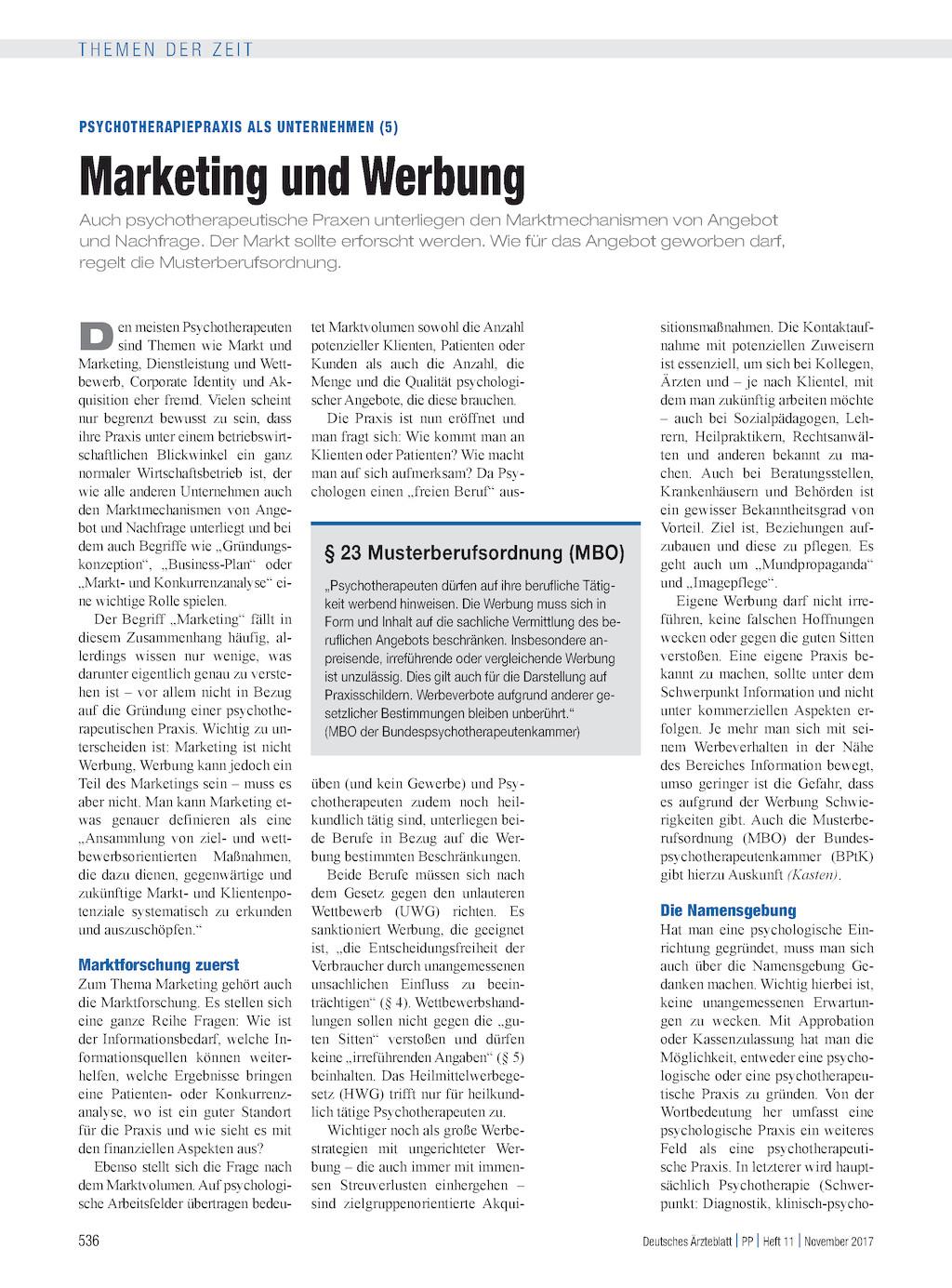 Psychotherapiepraxis Als Unternehmen 5 Marketing Und Werbung