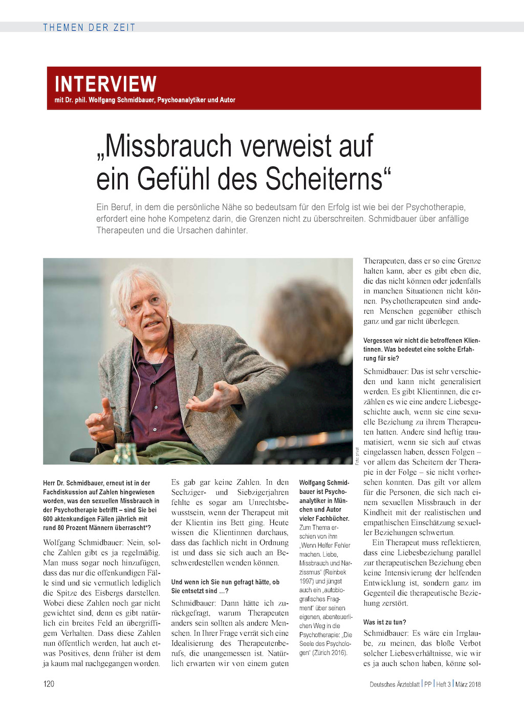 Interview mit Dr. phil. Wolfgang Schmidbauer, Psychoanalytiker und ...