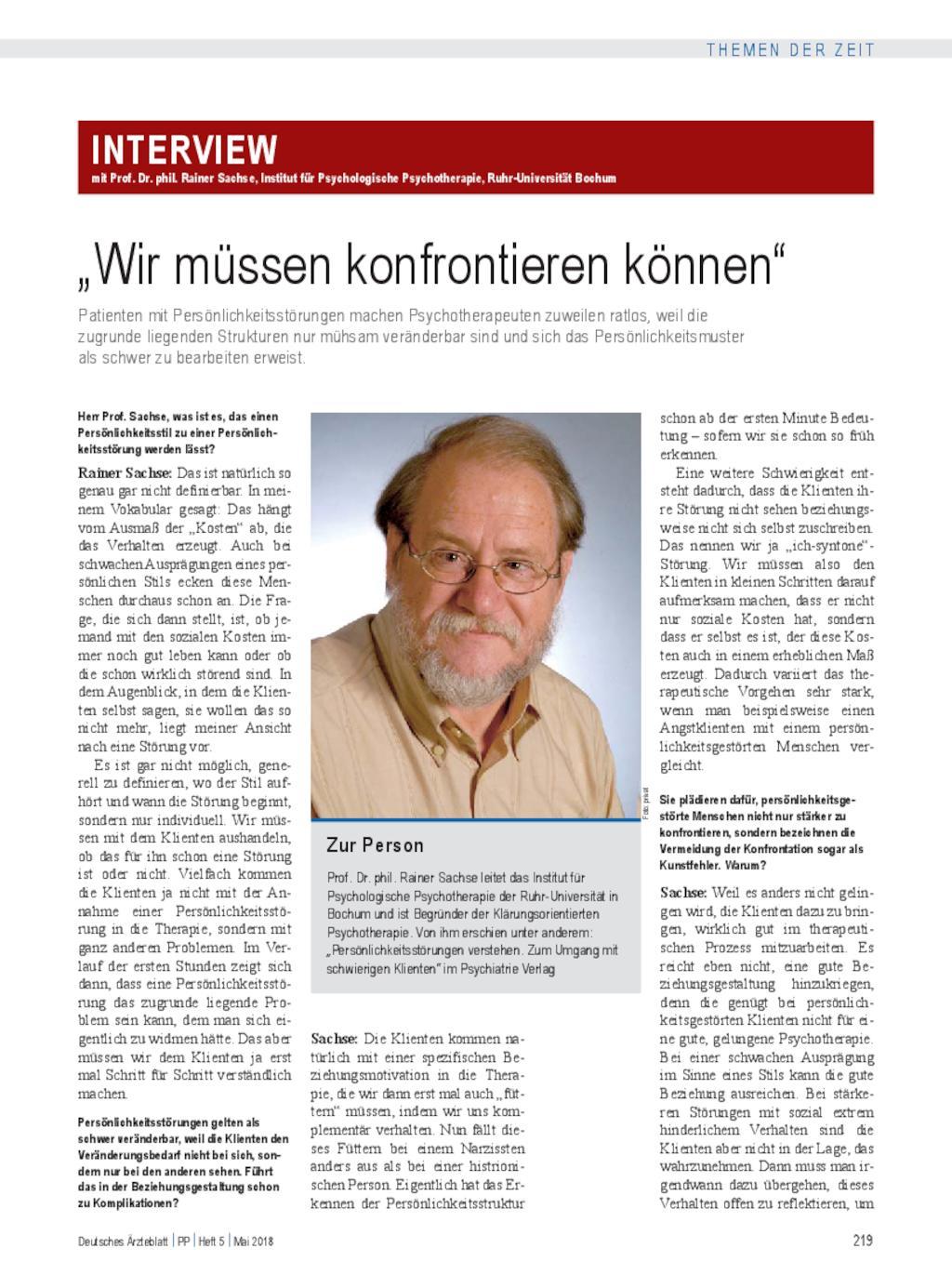 Interview Mit Prof Dr Phil Rainer Sachse Institut Für