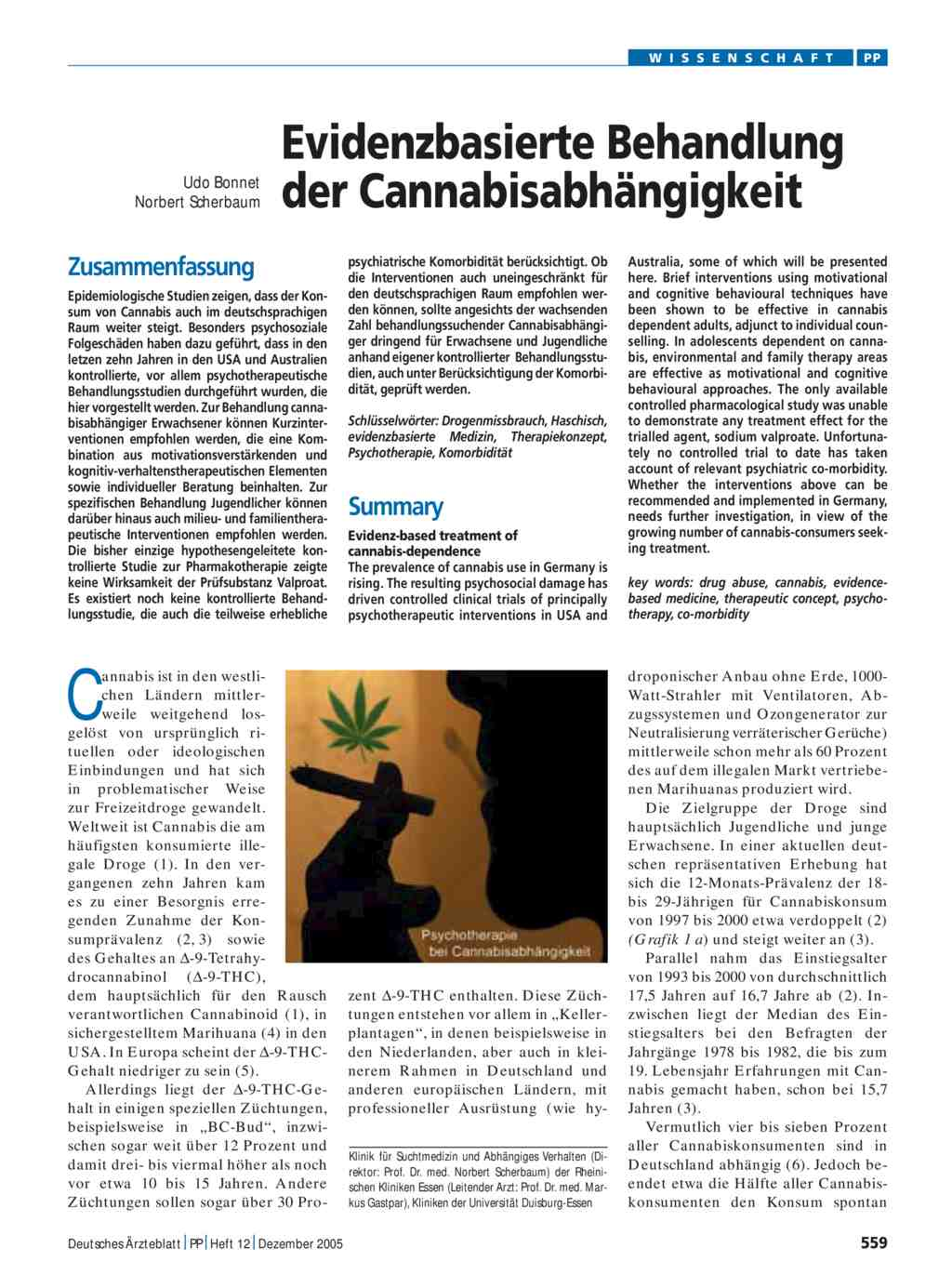 Evidenzbasierte Behandlung der Cannabisabhängigkeit