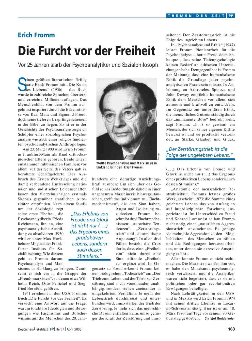 Erich Fromm: Die Furcht vor der Freiheit