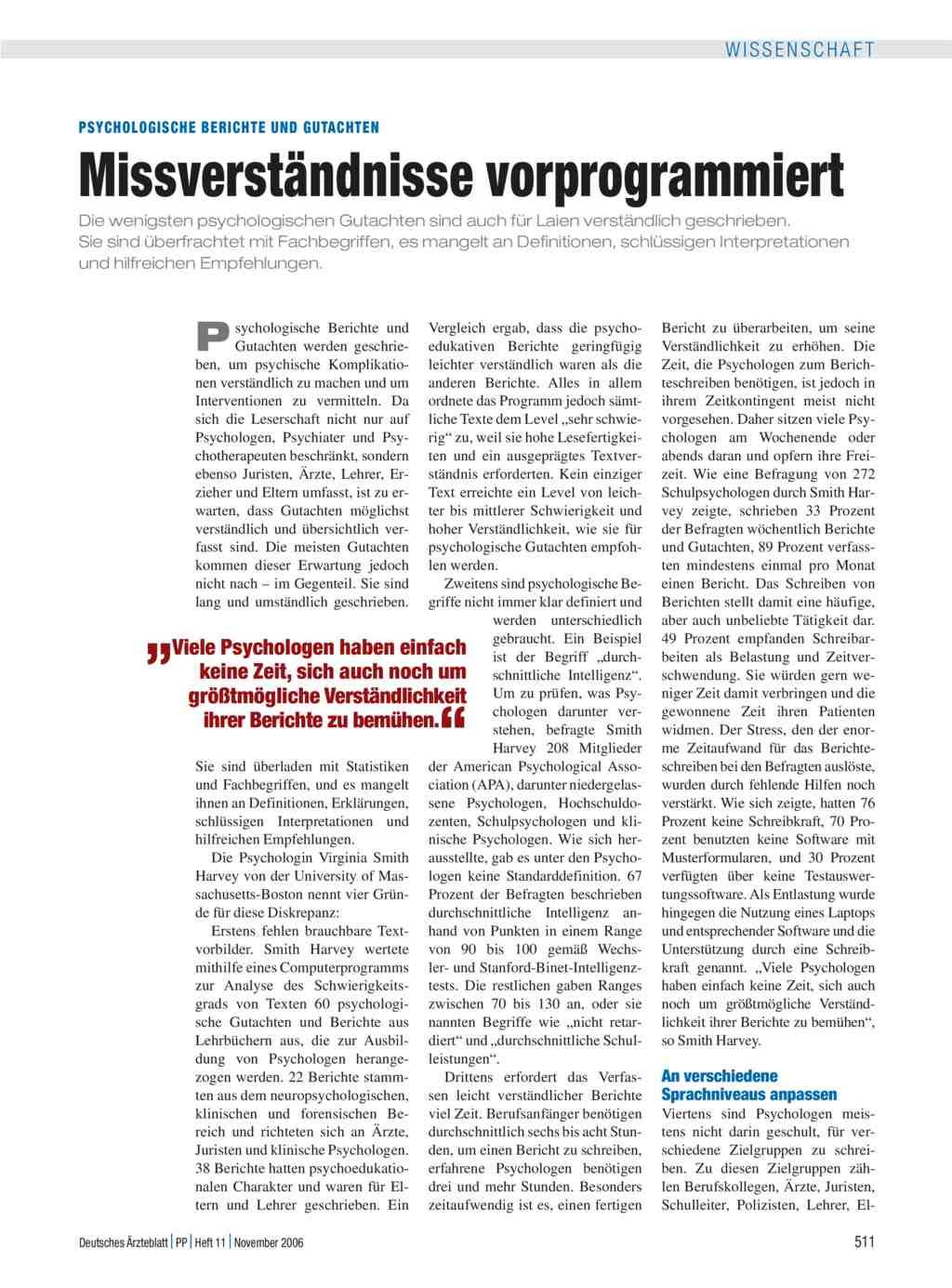Psychologische Berichte und Gutachten: Missverständnisse vorprogrammiert