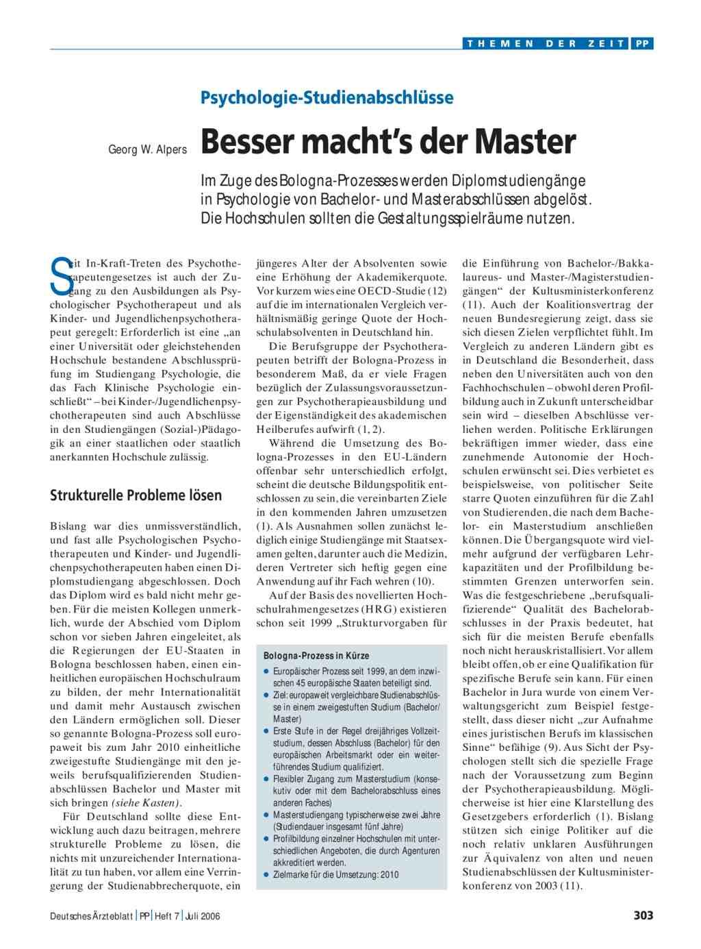 Psychologie-Studienabschlüsse: Besser macht\'s der Master
