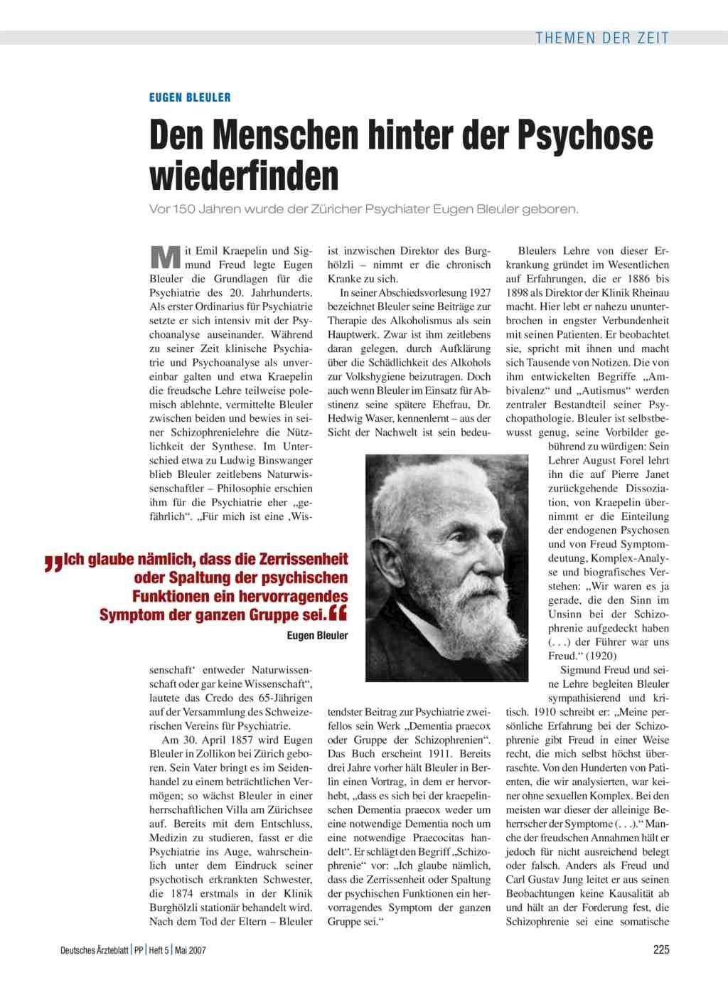 Eugen Bleuler: Den Menschen hinter der Psychose wiederfinden