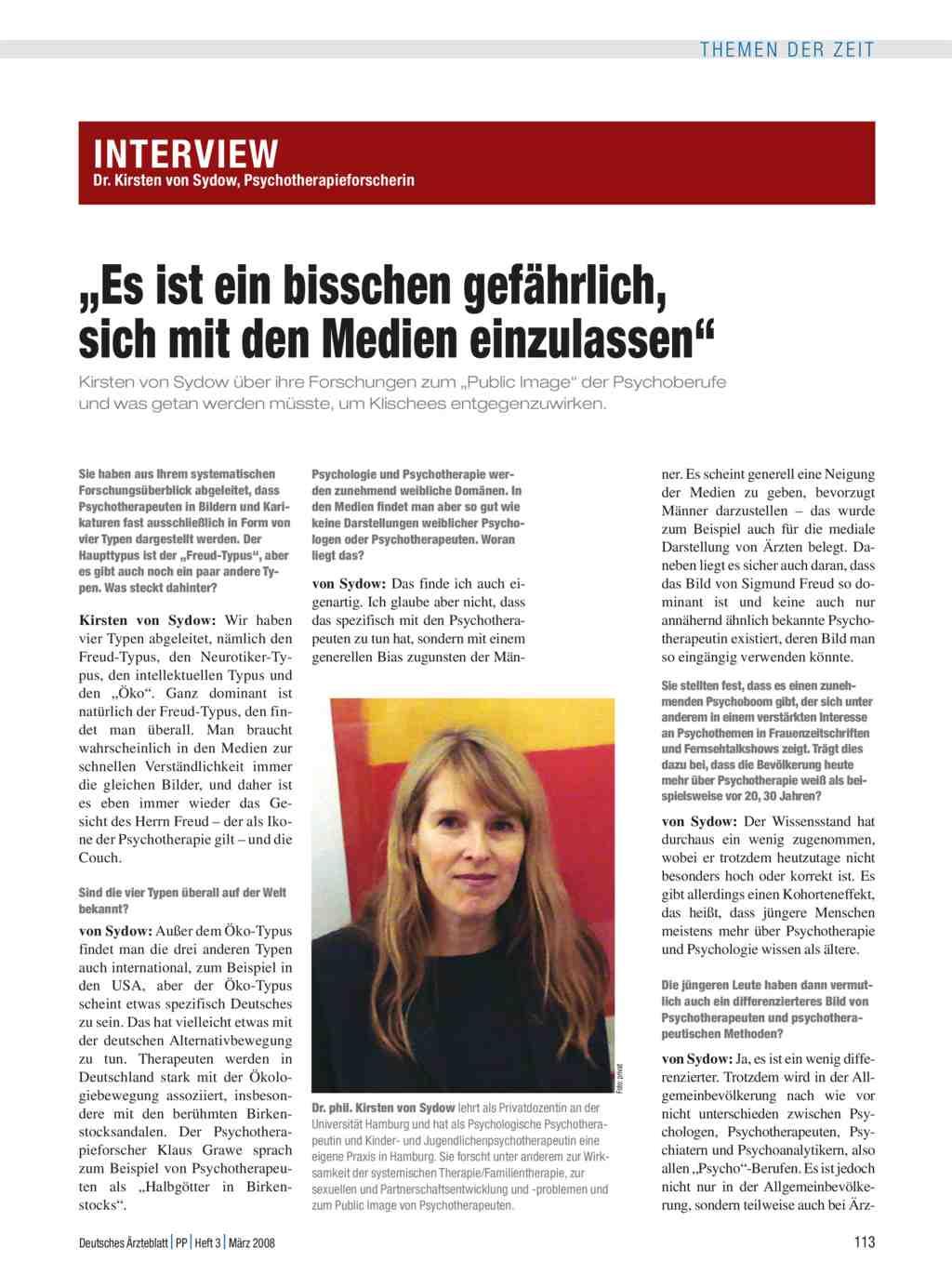 """Interview mit Dr. Kirsten von Sydow, Psychotherapieforscherin: """"Es ..."""