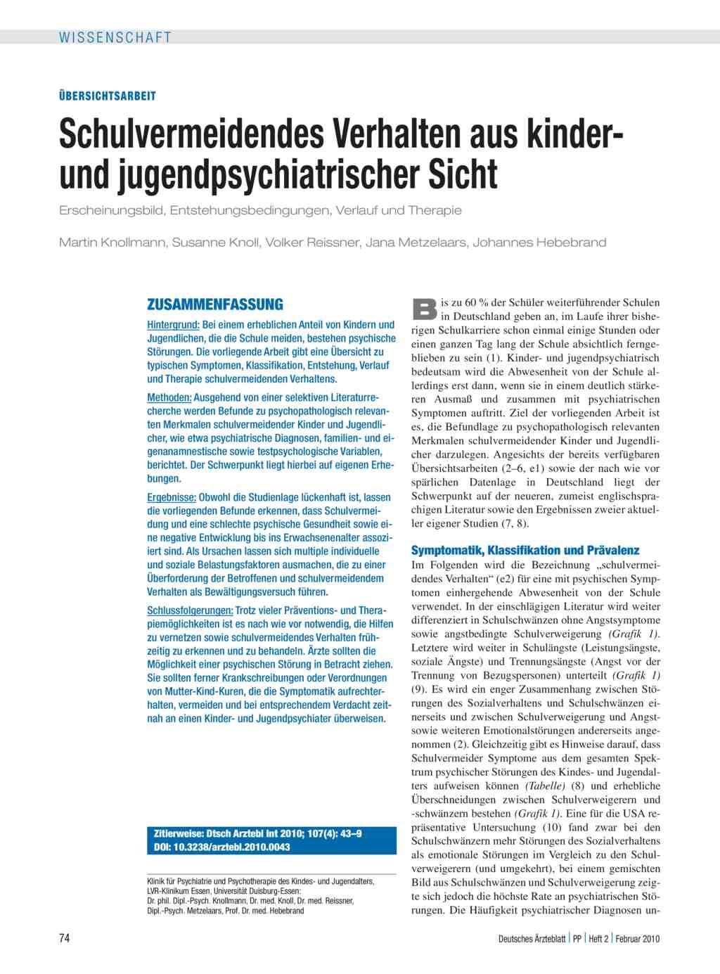 Schulvermeidendes Verhalten aus kinder- und jugendpsychiatrischer ...