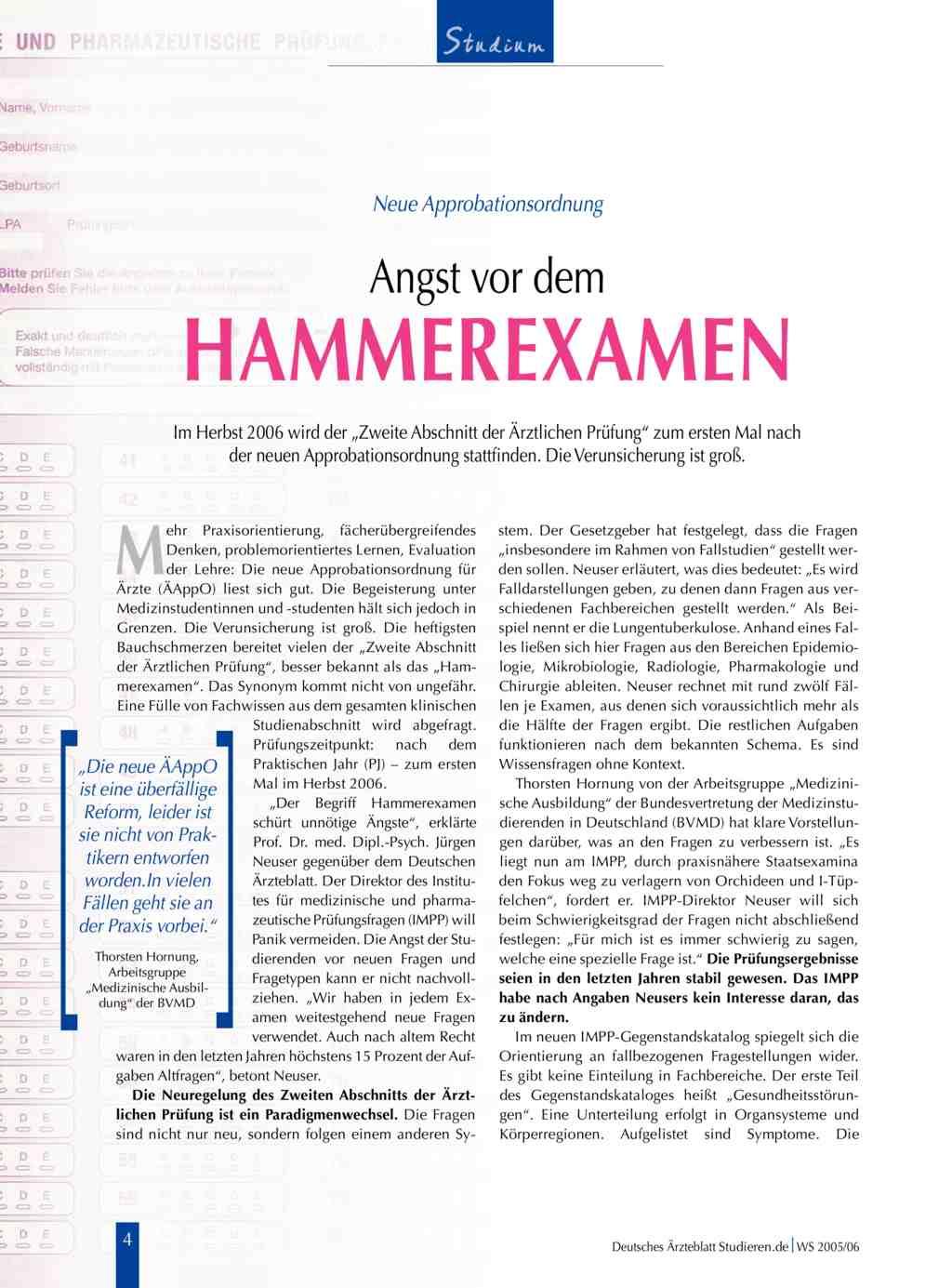 Neue Approbationsordnung: Angst vor dem Hammerexamen