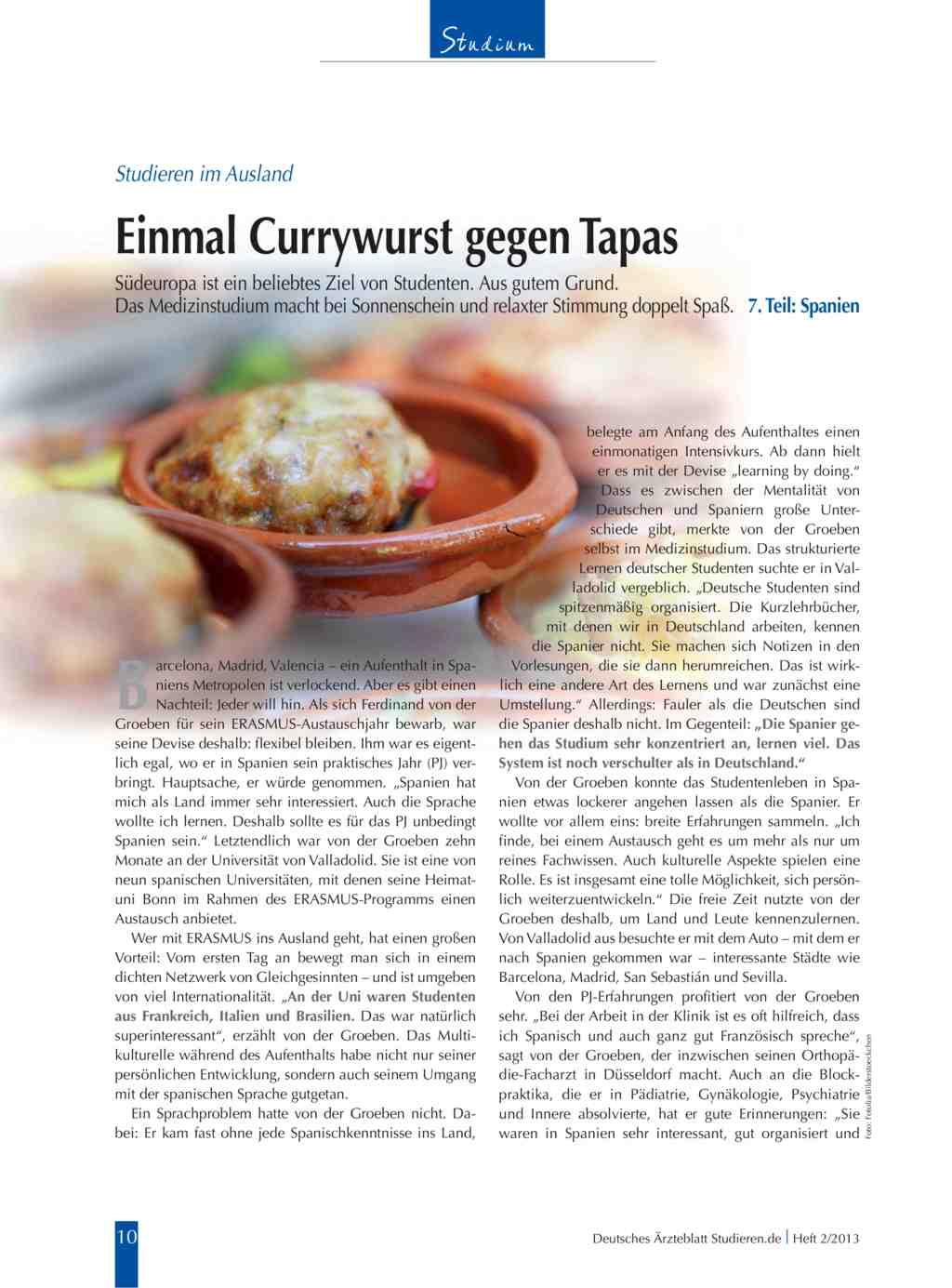 Studieren im ausland einmal currywurst gegen tapas for Studieren im ausland