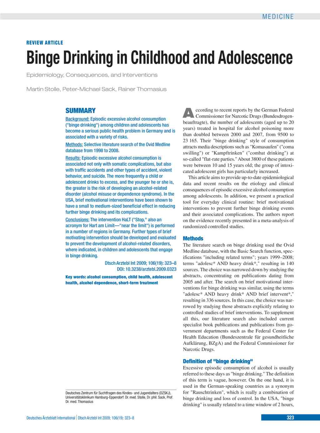 Binge Drinking in Childhood and Adolescence (08 05 2009)
