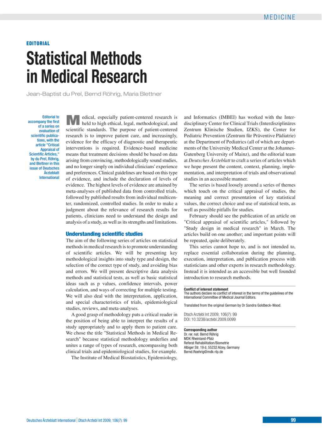 Statistical Methods in Medical Research (13 02 2009)
