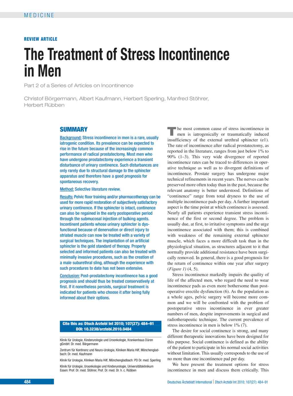 The Treatment of Stress Incontinence in Men (09 07 2010)