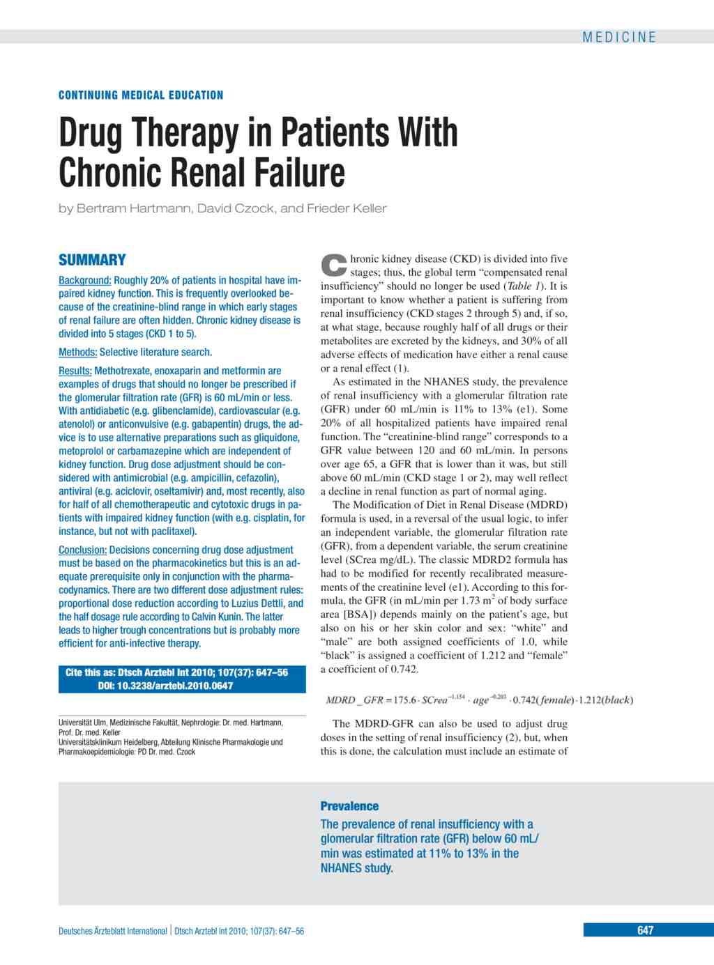 Drug Therapy in Patients With Chronic Renal Failure (17 09 2010)