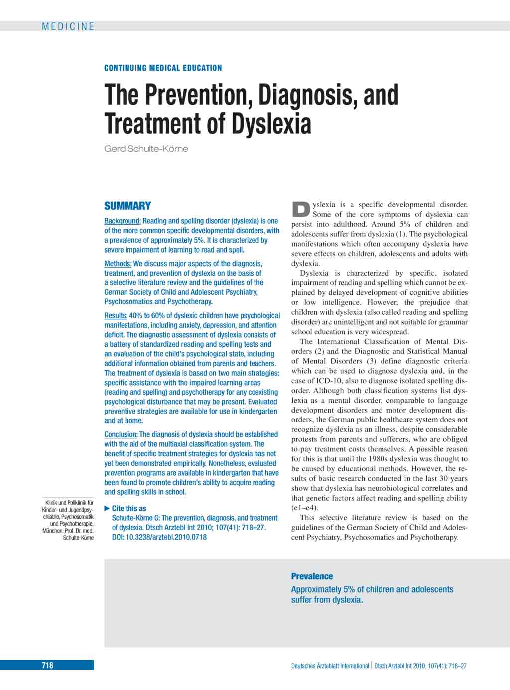 The Prevention, Diagnosis, and Treatment of Dyslexia (15 10 2010)