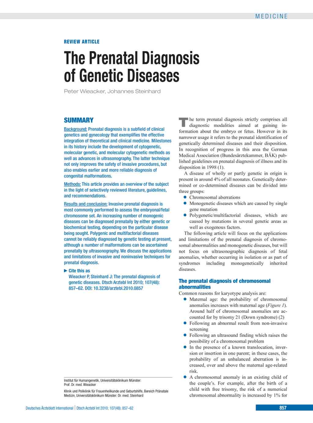 The Prenatal Diagnosis of Genetic Diseases (03.12.2010)