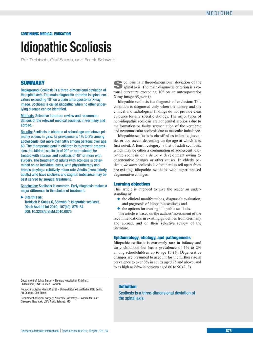 Idiopathic Scoliosis (10 12 2010)