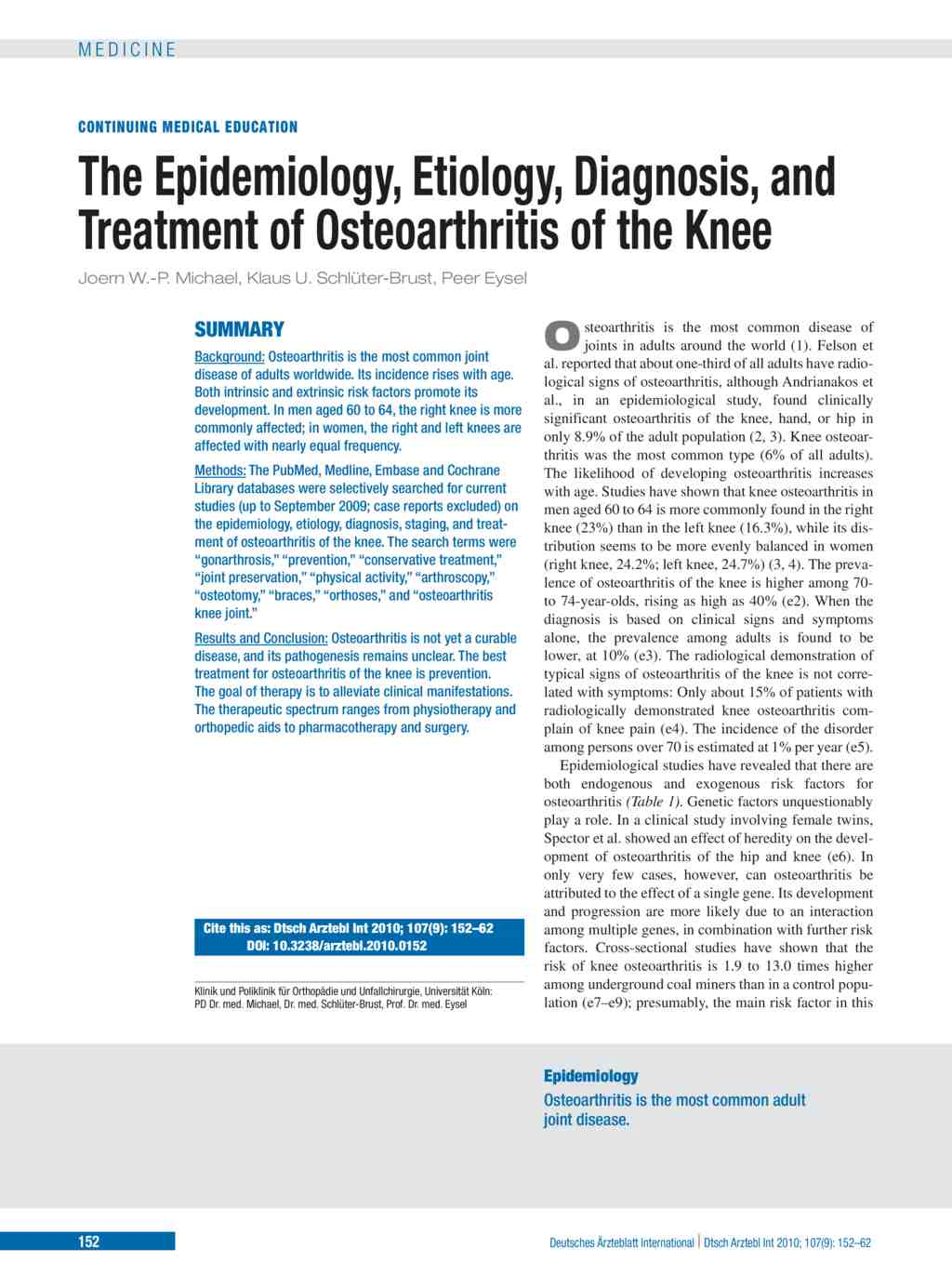 Osteoarthritis prevalence and modifiable factors: a population study