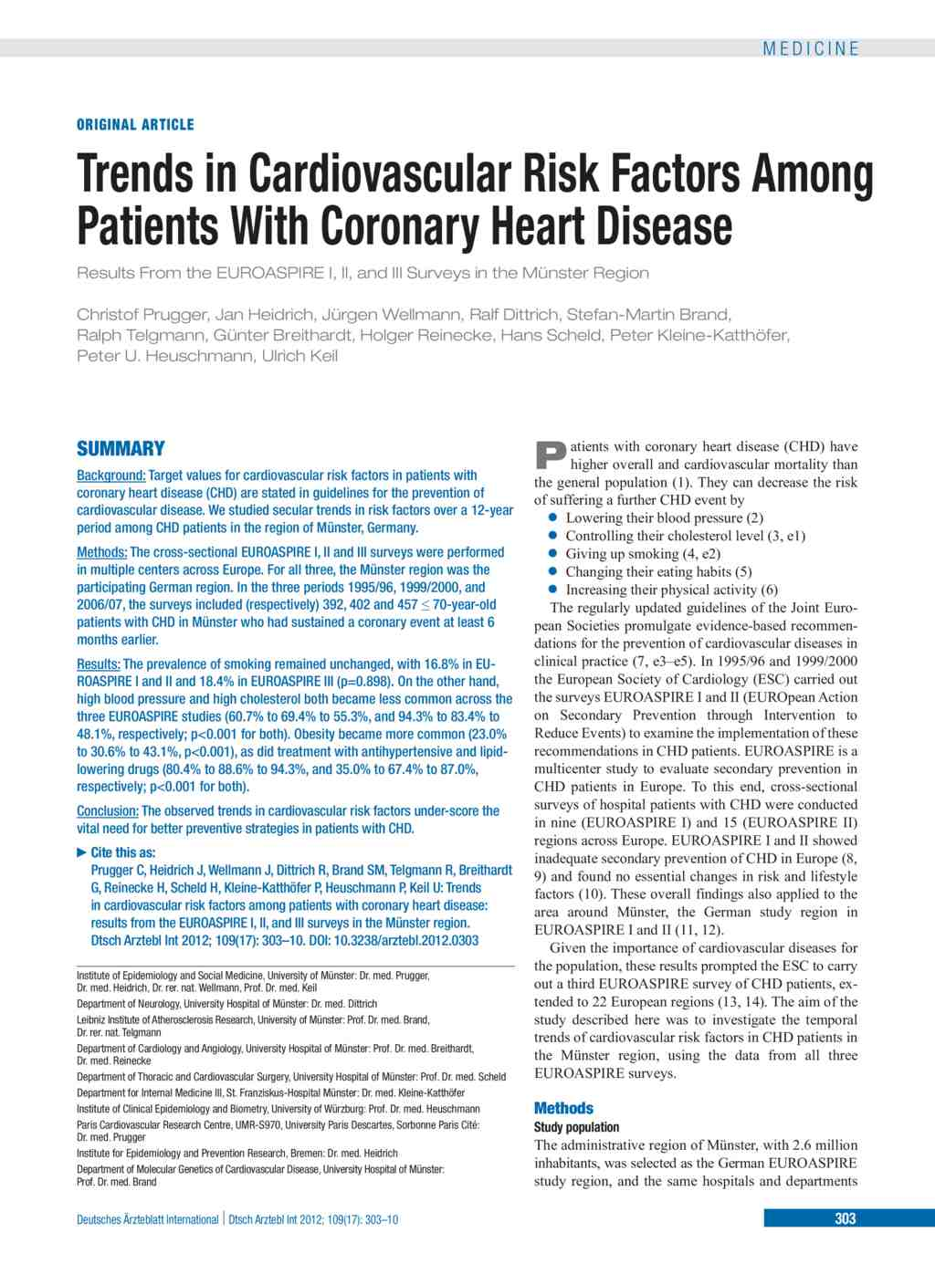 Trends in Cardiovascular Risk Factors Among Patients With