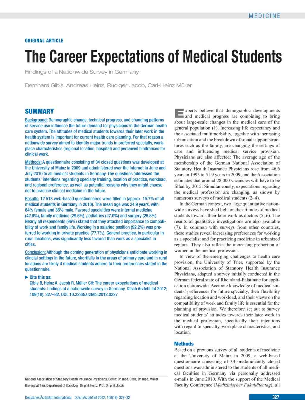 The Career Expectations of Medical Students (04 05 2012)